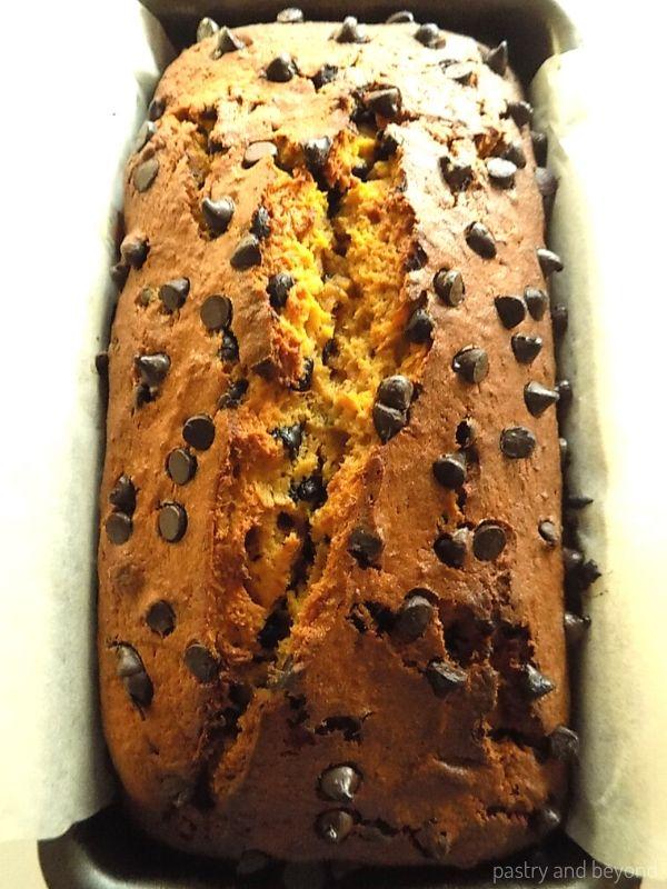 Pumpkin Chocolate Chip Bread in a pan.
