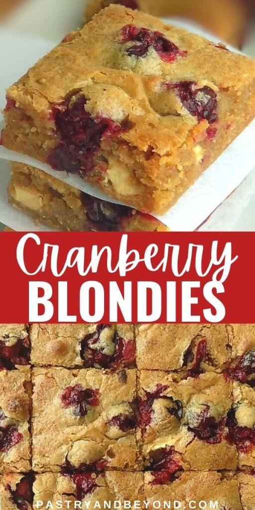 Side and overhead view of cranberry white chocolate blondies.
