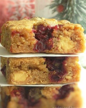 Stacked White Chocolate Cranberry Blondies