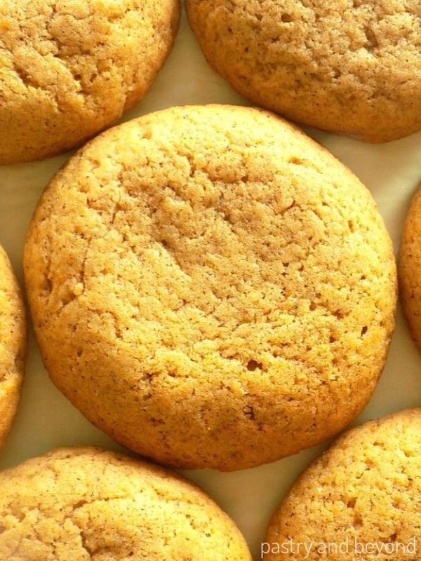 Pumpkin Spice Cookies on a baking sheet.