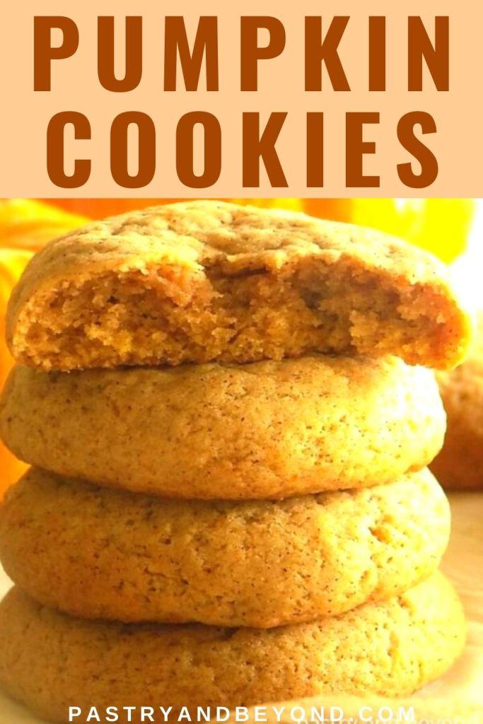 Stacked pumpkin cookies.