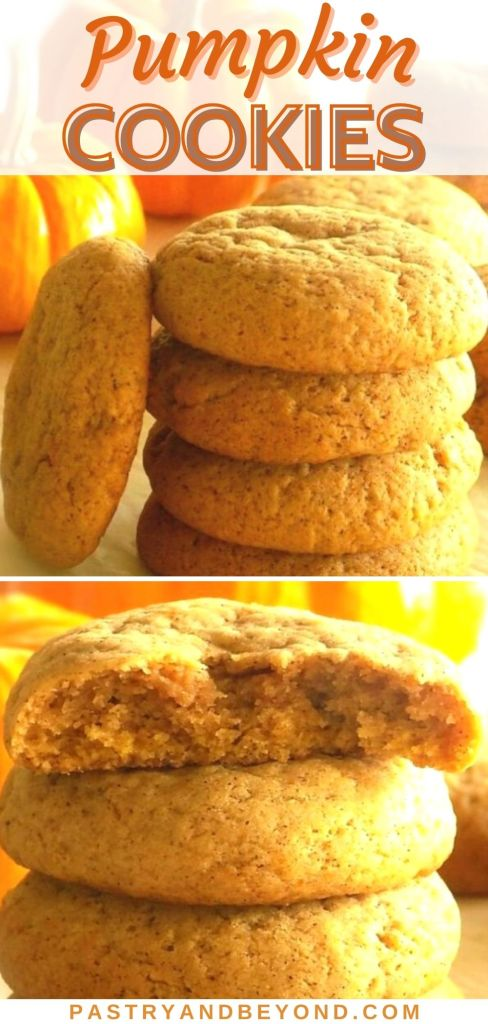 Collage for pumpkin spice cookies with text overlay.