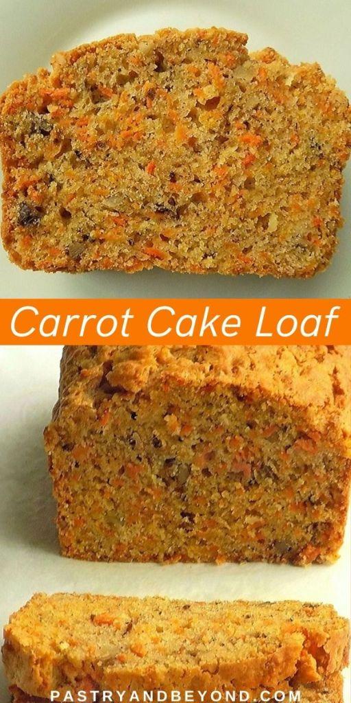Sliced carrot cake loaf.