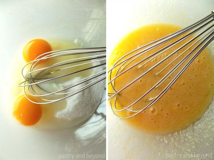 Mixing eggs and sugar in a mixing bowl with a whisk.