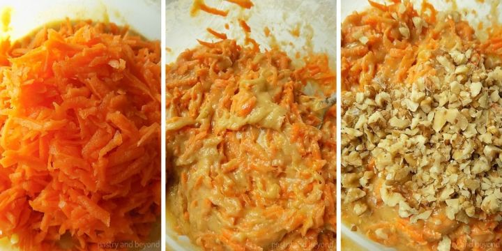 Adding the carrots into the mixture and stirring. Mixing in the walnuts.