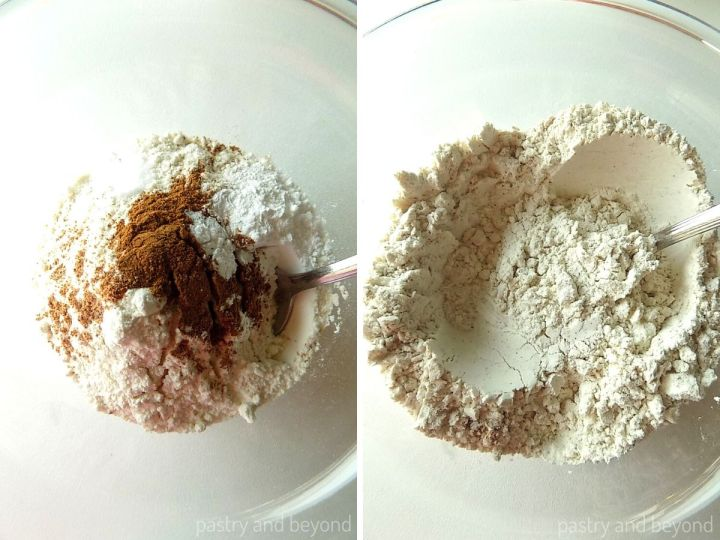 Flour, cinnamon, nutmeg, baking powder, salt in a bowl, mixed with a spoon.