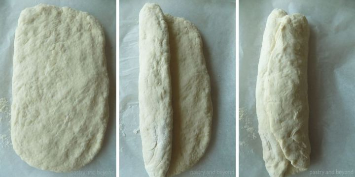 Forming each rectangle into a loaf by folding one of the long sides to the middle and then folding the other side over the folded one.