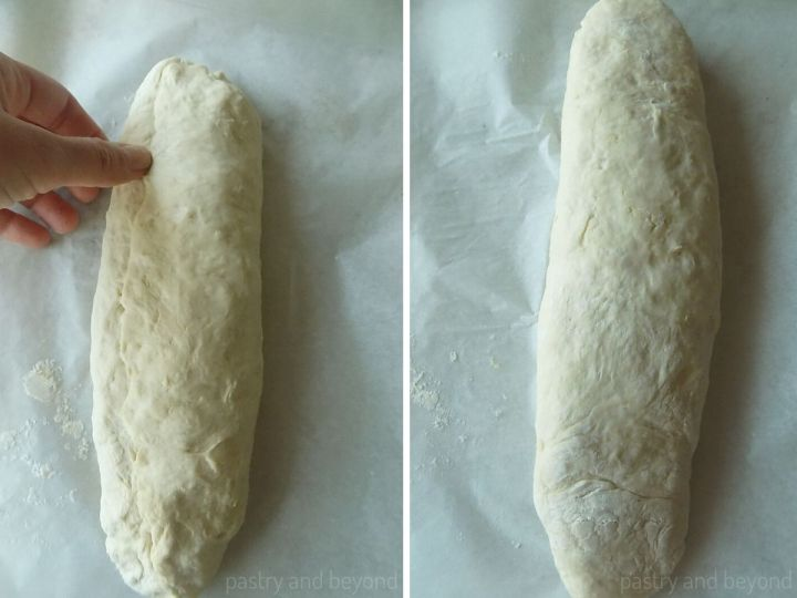 Collage of seaming the edges of the dough and reversing the other side.
