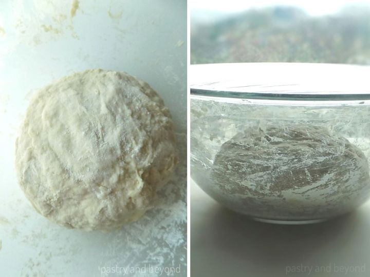 The dough ball rests in a large bowl covered with plastic film.