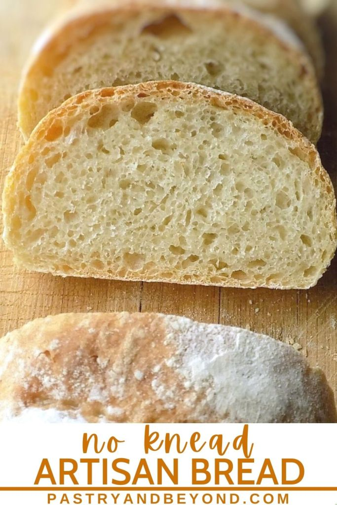 No knead bread with text overlay.