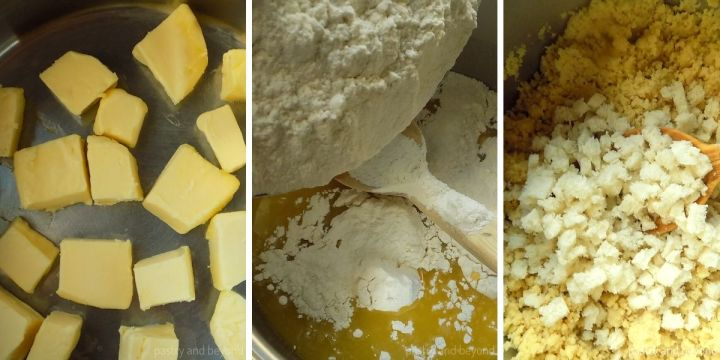 Turkish Flour Halve step by step: Melting the butter, adding the flour and bread pieces.