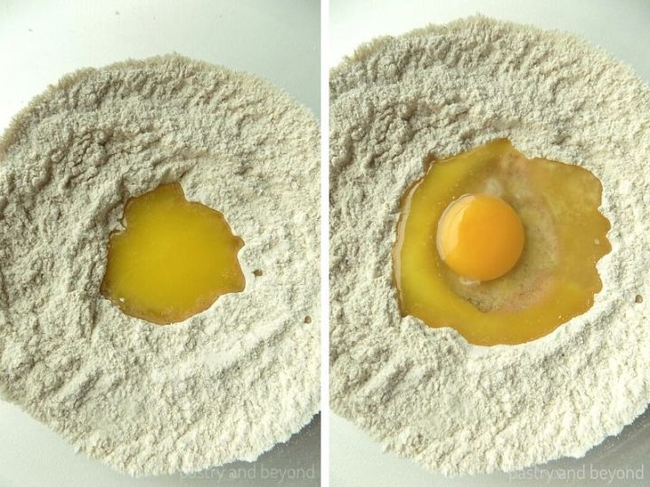 Collage of melted butter and egg that are added into the middle of the flour mixture.