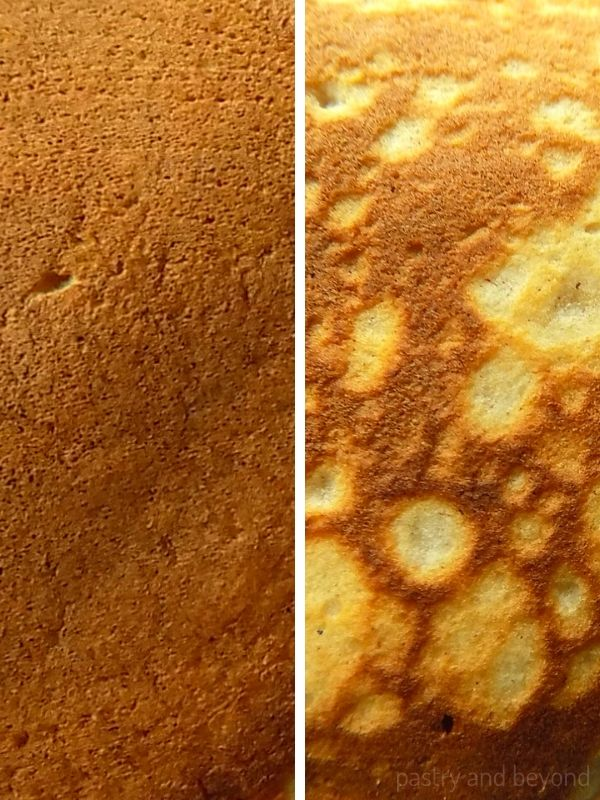 Collage of pancake texture with flat golden brown and with a mottled pattern.