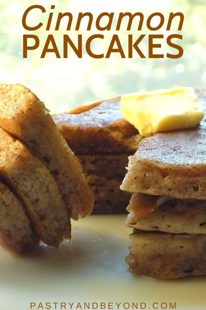 Stacked cinnamon pancakes and slices of stacked pancakes on a fork.
