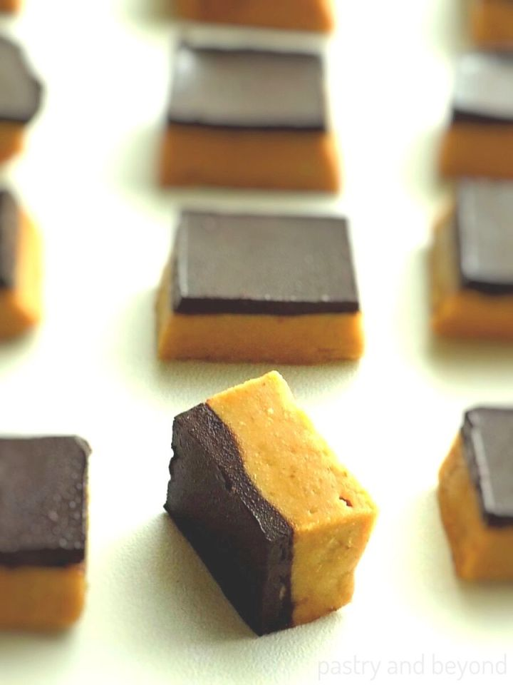 Overhead and side view of chocolate peanut butter bars.