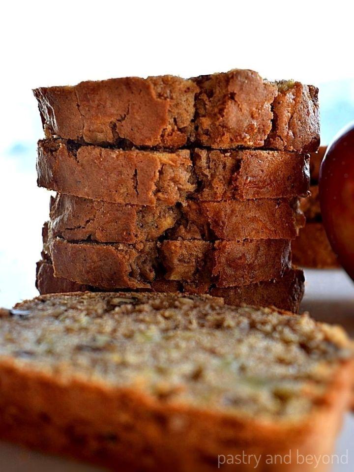 Stacked apple loaf slices.