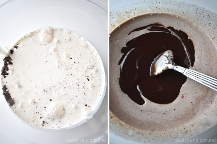 Scalded heavy cream and chopped chocolate in a bowl and stirring the mixture with a spoon.