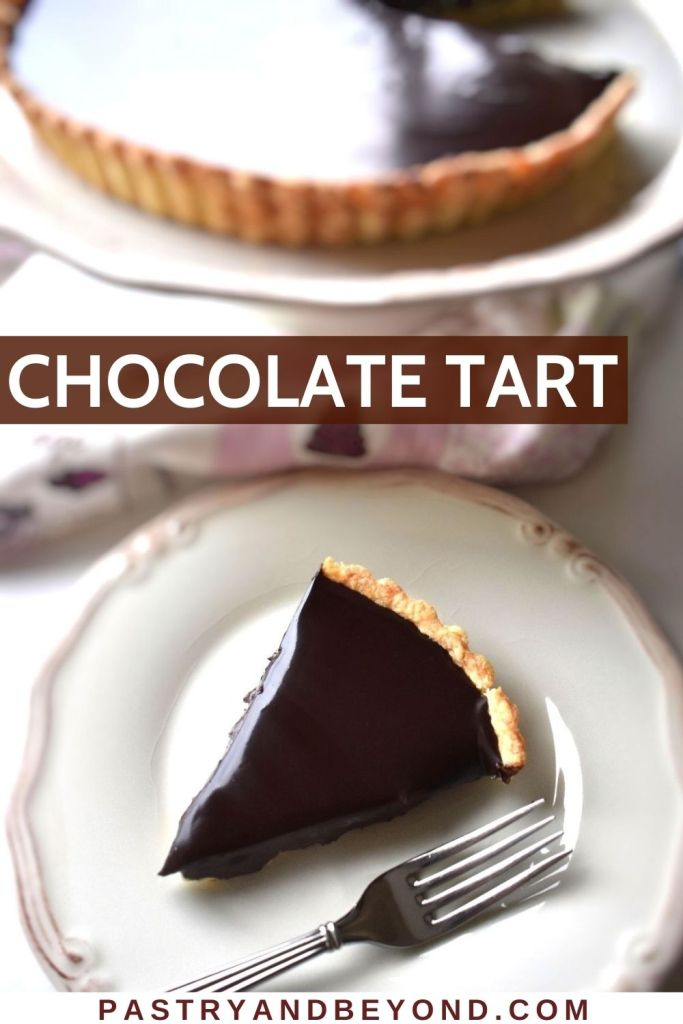 A slice of chocolate ganache tart in a plate with a fork, tart in the serving plate in the background.