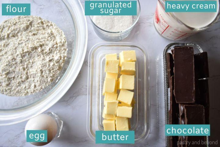Ingredients for chocolate ganache tart.