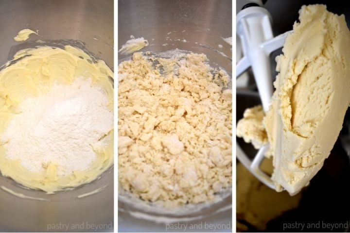 Adding flour mixtrure into the butter mixture.  Crumbly dough and a dough that covers the paddle attchemnt