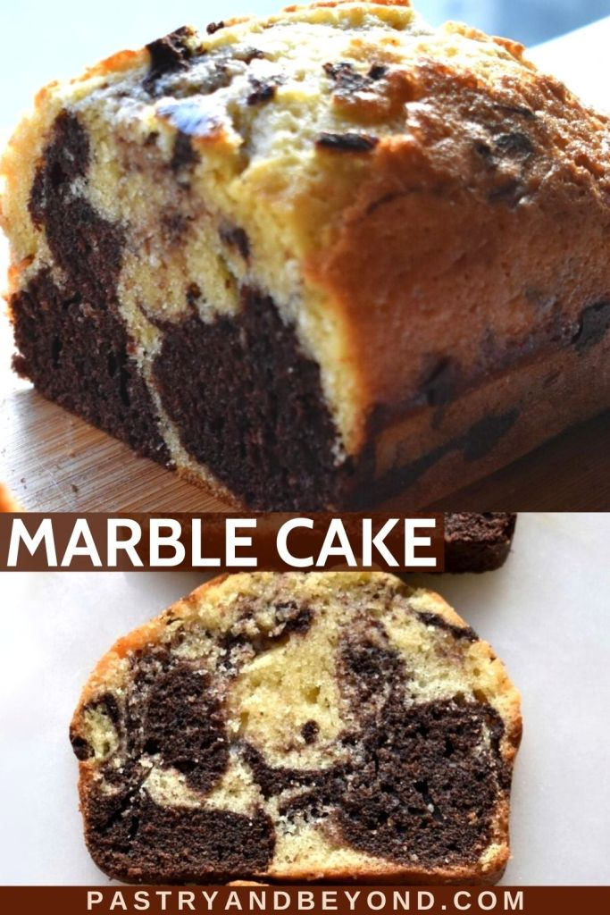 Collage of half of marble loaf cake and a slice of it.