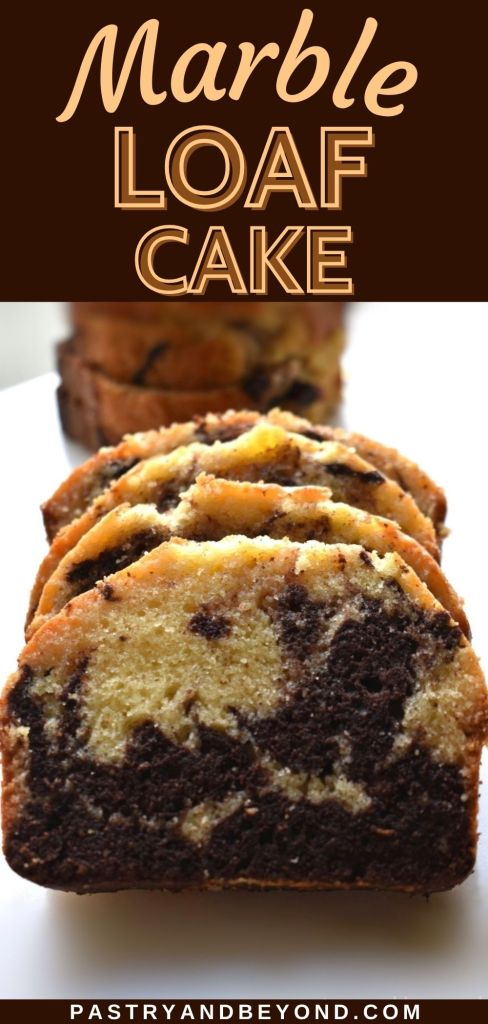 Slices of marble cake loaf in a row with text overlay.
