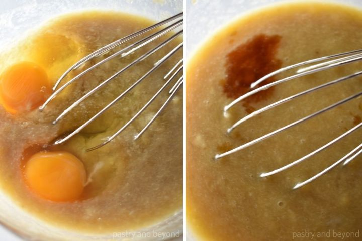 Eggs and vanilla extract added to the wet mixture.