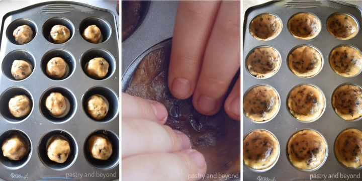 Pressing the dough balls with fingers onto bottom and sides to give a cup shape.