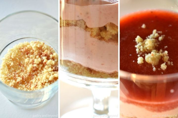 Collage of adding crushed cookies, strawberry mousse and puree into the serving glass.