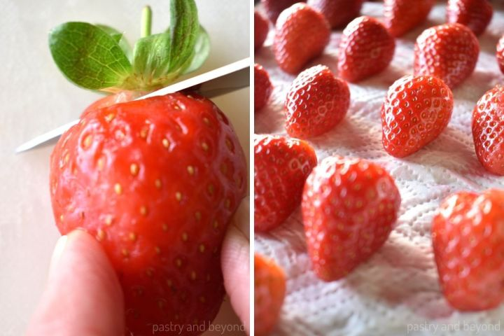 Collage of cutting the stem of a strawberry and drying the strawberries on a parchment paper.