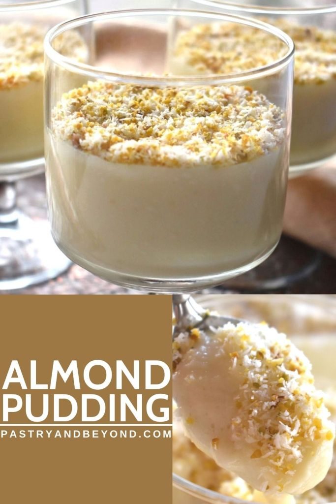 Collage for almond pudding with text overlay.