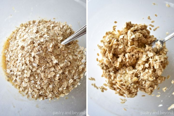 Collage for adding oatmeal and stirring with mashed banana using a fork.