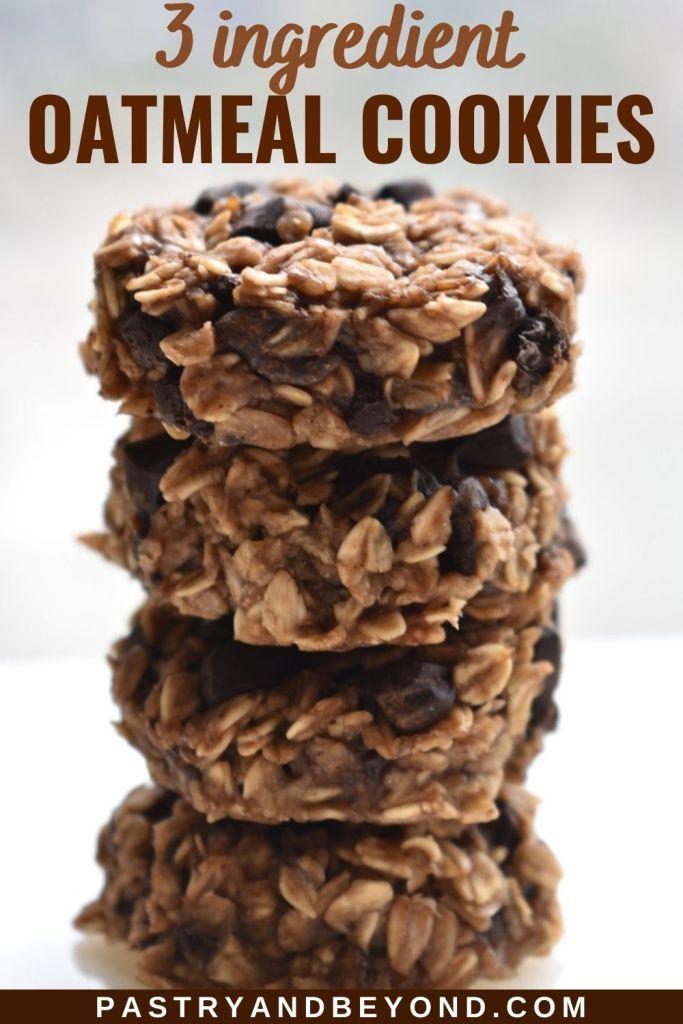 Stacked banana oatmeal chocolate chip cookies.