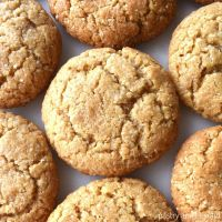 Almond flour peanut butter cookies on a white surface.