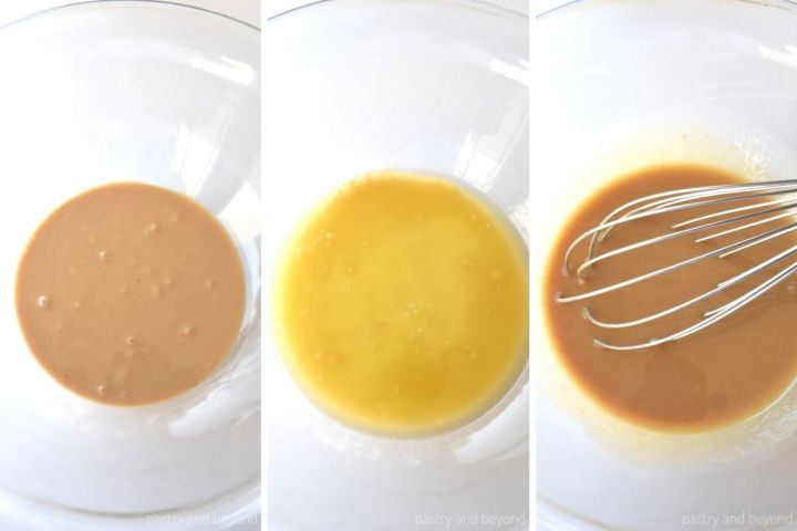 Collage of mixing butter and peanut butter.