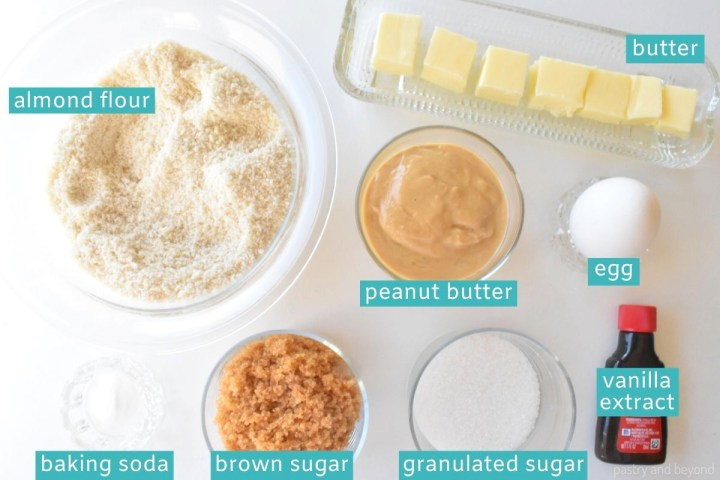 Ingredients for almond flour peanut butter cookies.