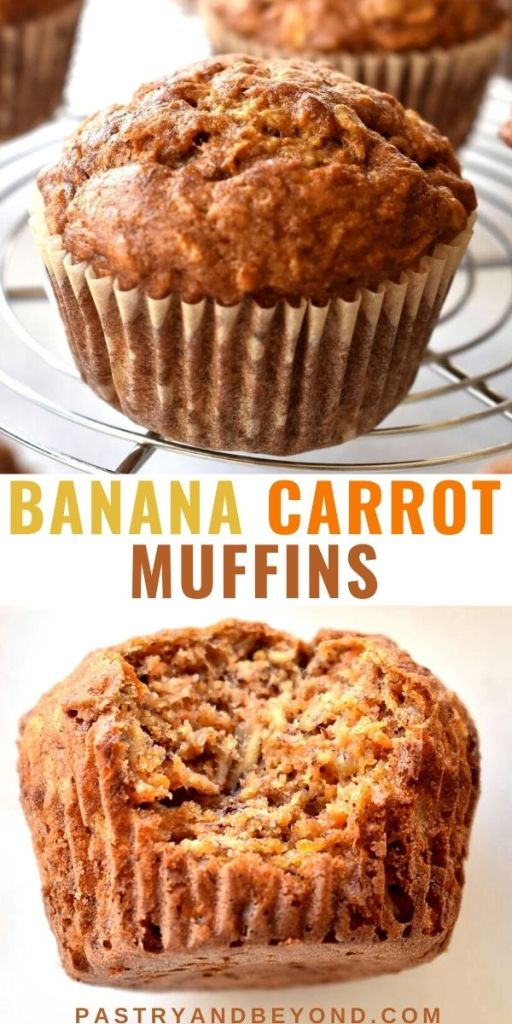 Collage for banana carrot muffins with text overlay.