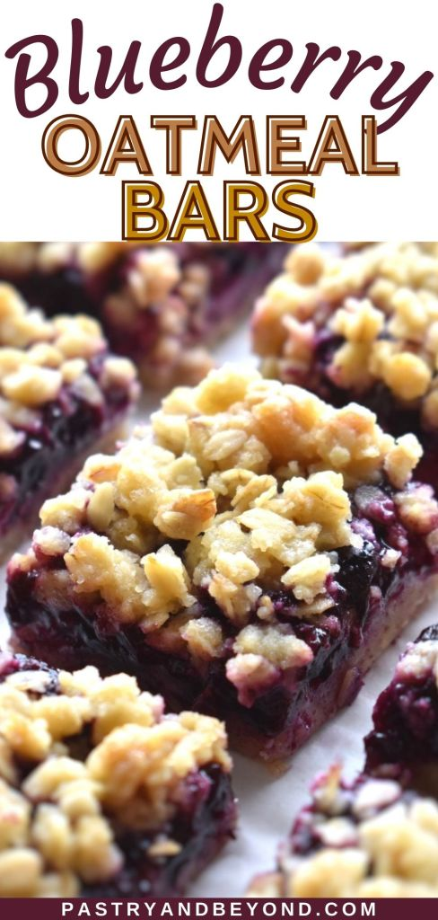 Blueberry oatmeal bars on a white surface with text overlay.
