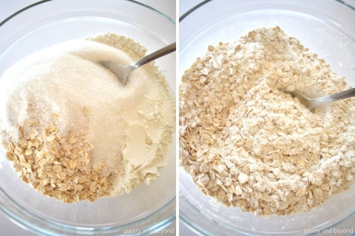 Collage of mixing dry ingredients in a bowl.