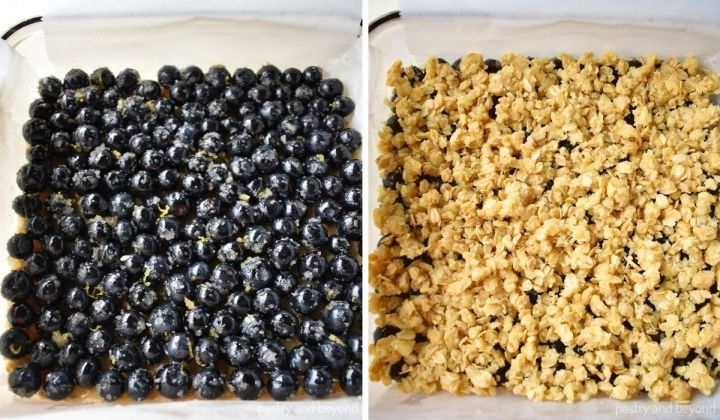 Collage fo adding blueberry mixture and the topping over the crust.