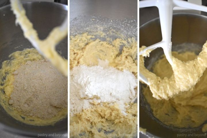 Collage for adding almond flour, flour and mixing.