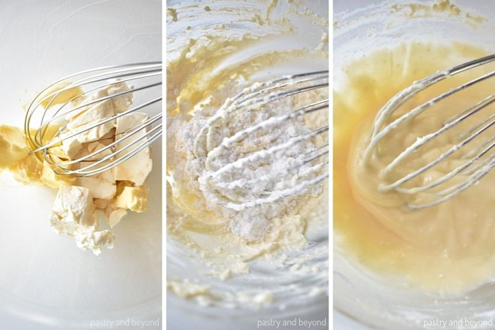 Collage for making cream cheese icing.