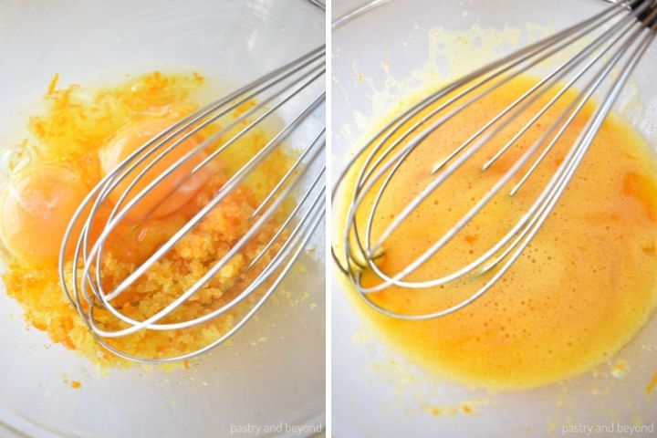 Collage of stirring eggs and sugar mixture with a whisk.