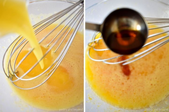 Collage of adding melted butter and vanilla extract to the egg mixture.