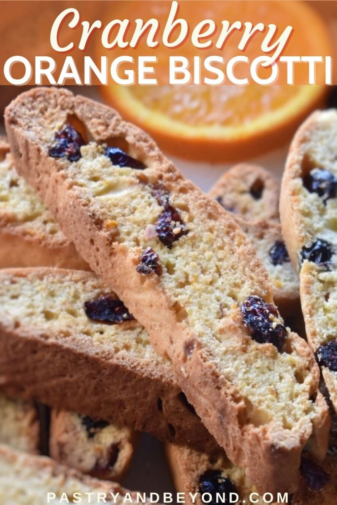 Cranberry orange biscotti with text overlay.