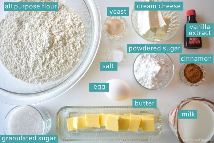 Ingredients for cinnamon roll on a white surface.
