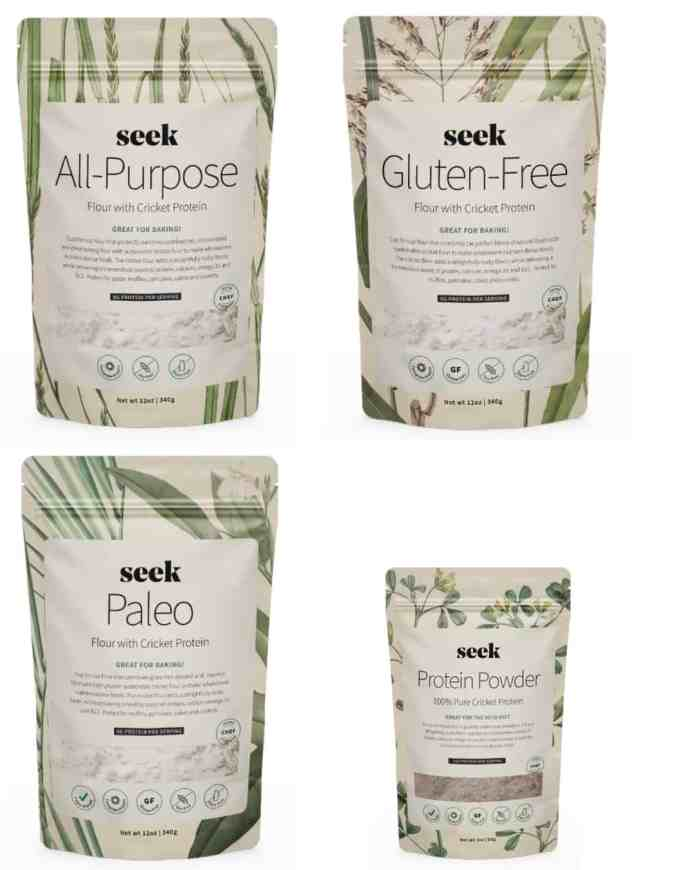An assortment of cricket flours available from Seek Food