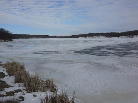 Frozen lake near dam