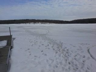 Ice fishermen's tracks