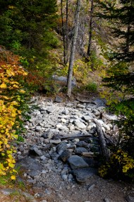 Hayes Creek Bed at the end of the season on camas creek trail to camas lake montana